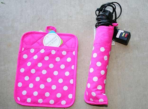 23 Easy DIY Ways To Make Traveling So Much Better  Before you hit the road, hit the glue gun.   Flat Iron Cover