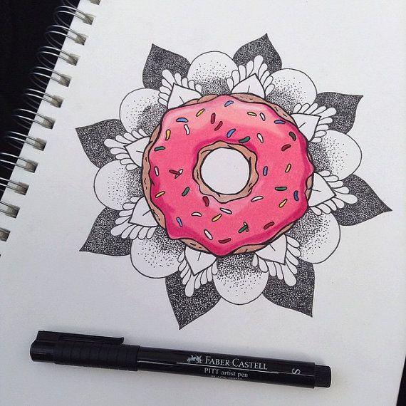 Donut Mandala Flower Print by MelissaMalice98 on Etsy