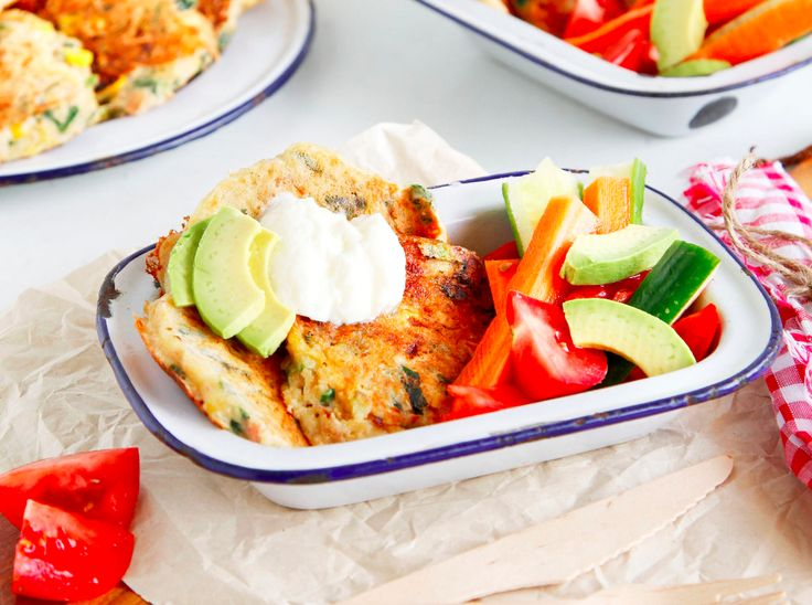 Here we have a sneak peek from our Healthy Kids Cookbook – a delicious corn fritter recipe using spinach, corn, ham and cheese.