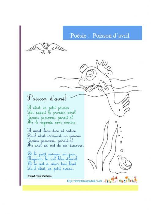Imprimer la poesie : poisson d'avril