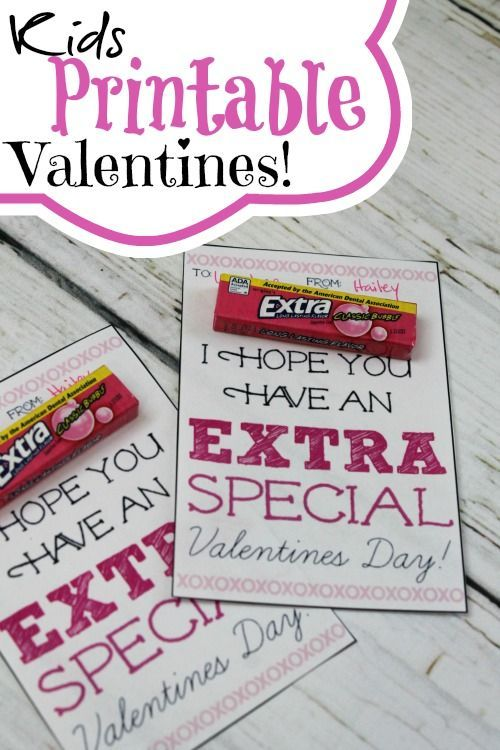 Kids Printable Valentines Using Extra Gum! These are super simple and cute for DIY School Valentine's!