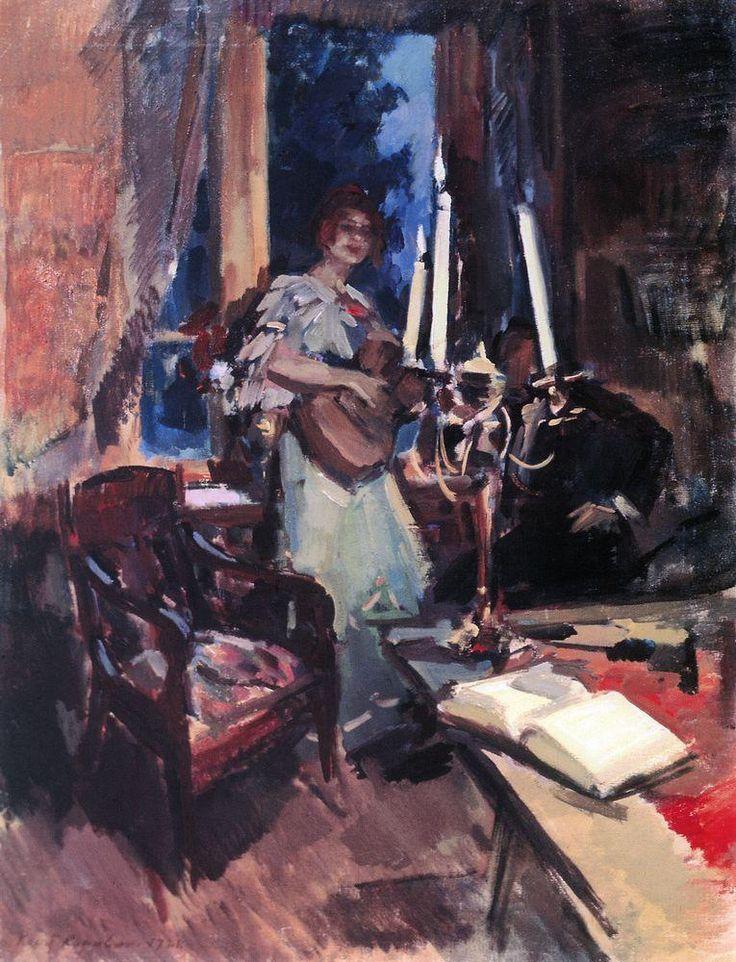 Коровин Константин Алексеевич (1861-1939): Ночь. Дуэт. 1921.