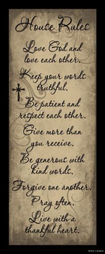 HOUSE RULES LOVE GOD & EACH OTHER SIGN Inspiration Primitive Country Home Decor