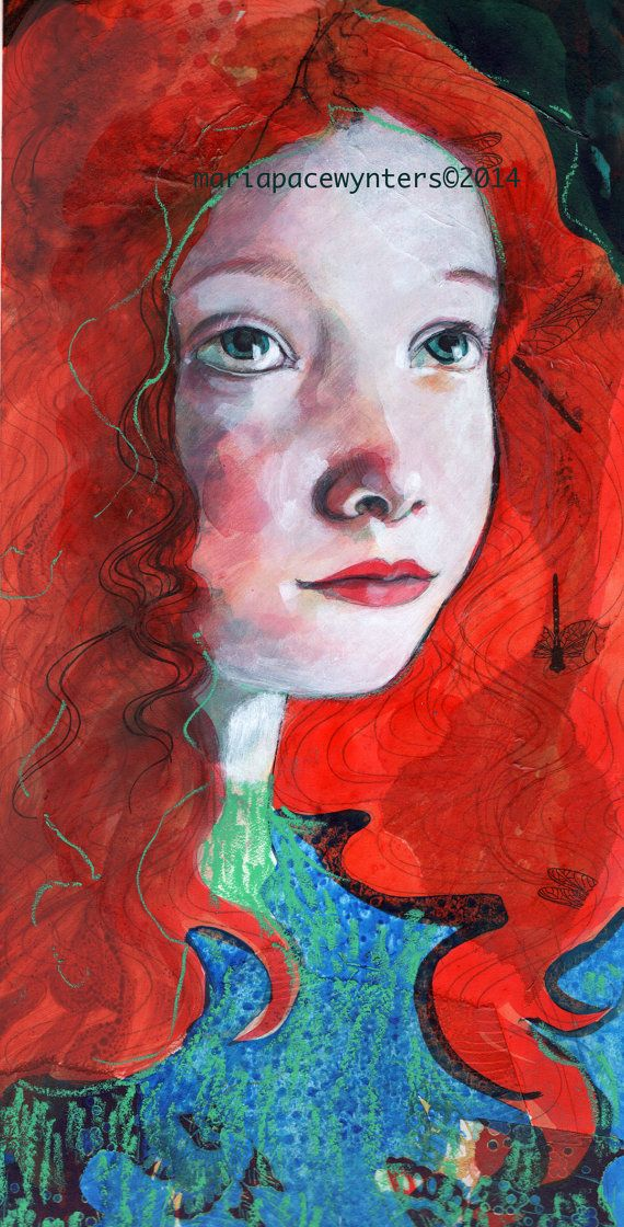 The Redhead's Dreams- Original mixed media painting by Maria Pace-Wynters