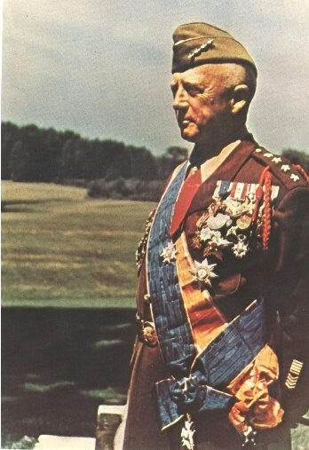 4 Star General George Patton, US Army, Decked out with the Medals of several countries earned in two wars. Is it any wonder, Hitler, OKW & the SS feared him the most.