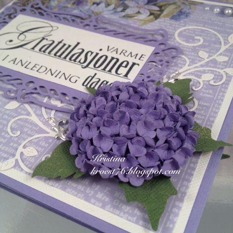 Kristinas kortblogg: Hortensiakort med tutorial på håndlaget Hortensia