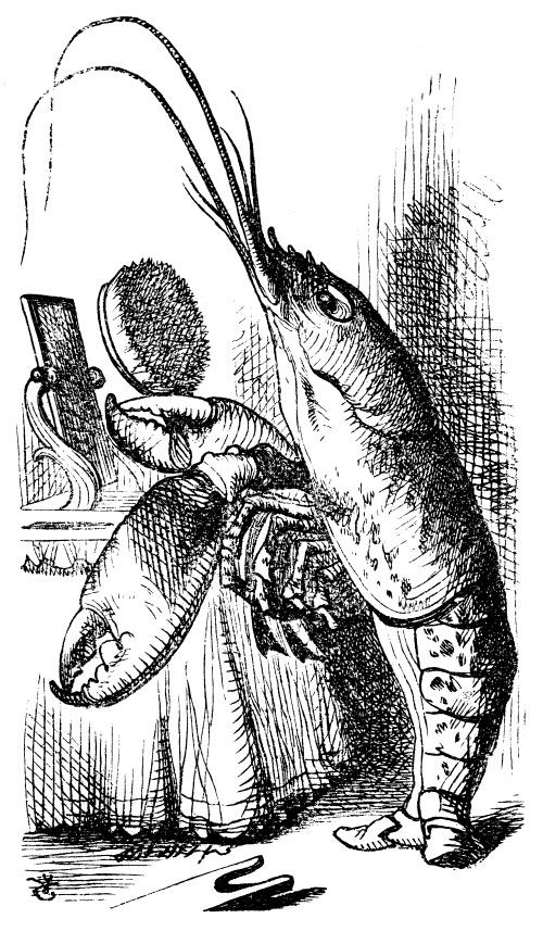 http://www.fairy-tales.biz/Alice-in-Wonderland-Illustrations/images/The-Lobster-from-Alice-in-Wonderlalnd.jpg  This is a picture of a lobster from the Alice in Wonderland story.  I love Alice in Wonderland, and the illustrations are amazing.  I love how his tail looks so much like legs, while the rest of him remains quite lobsterish.