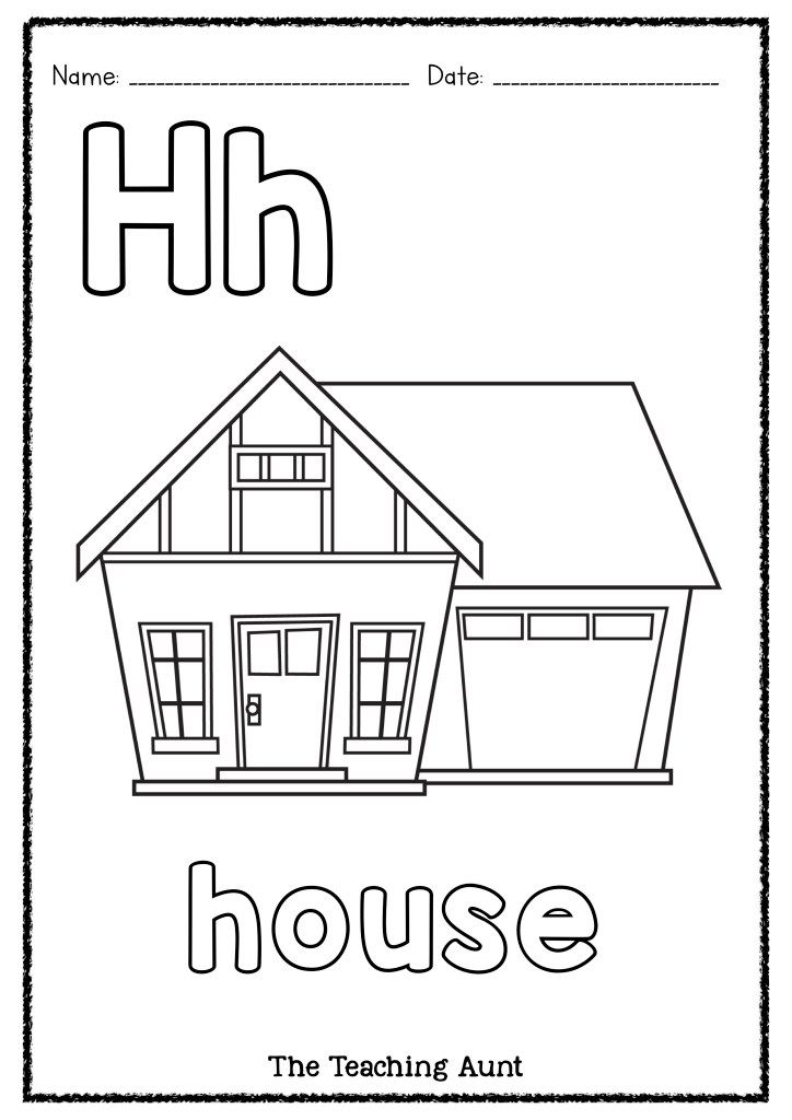 H Is For House Art And Craft The Teaching Aunt Preschool Coloring Pages Alphabet Letter Activities Kids Printable Coloring Pages