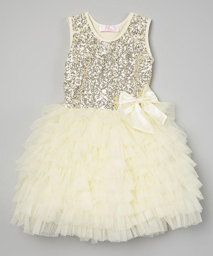 Popatu by Posh Cream Sequin Ruffle Dress - Infant, Toddler & Girls | zulily