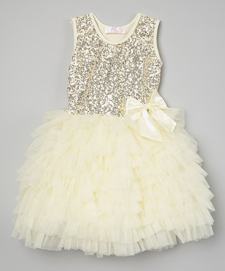 Popatu by Posh Cream Sequin Ruffle Dress - Infant, Toddler & Girls | zulily