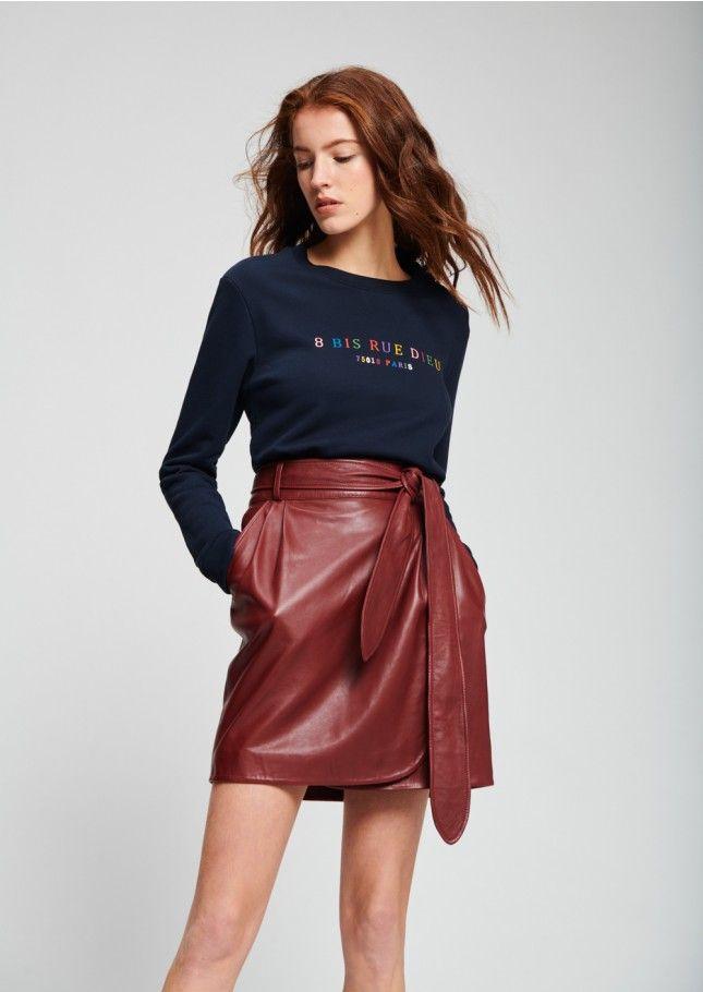 c425e1420967 Jupe courte portefeuille en cuir bordeaux - femme - tara jarmon 1 ...