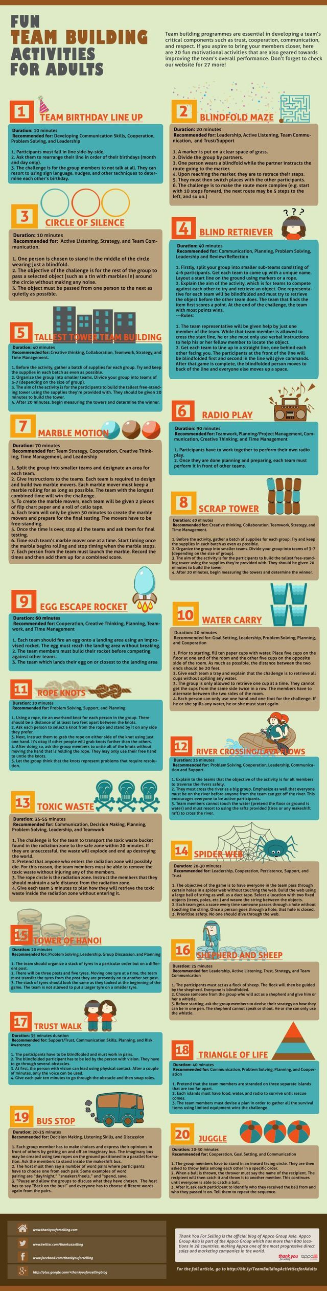 Fun team building activities for adults. These are perfect for organizational team-building!