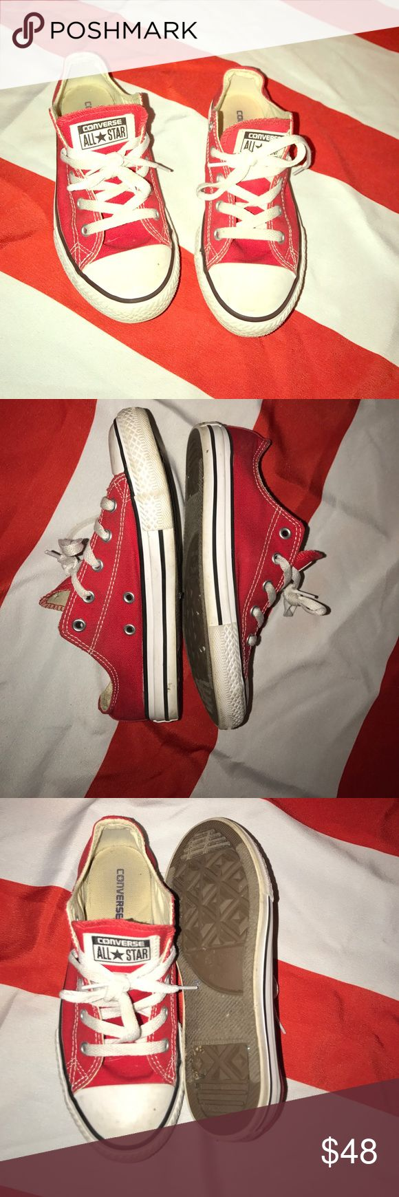EUC RED CHUCK TAYLORS CONVERSE ALL STAR YOUTH 3/6 EUC RED CHUCK TAYLORS CONVERSE ALL STAR YOUTH 3/6. Pix prior to any cleaning. Left to buyers discretion. Any spot will come off the white part of the shoes w manic eraser very easily. THZ are YOUTH SIZE 3 which means they  CAN FOT LADIES SIZE 6-6.5-7 comfortably. Plz se pix for references ask ANY QUESTIONS Converse Shoes Sneakers