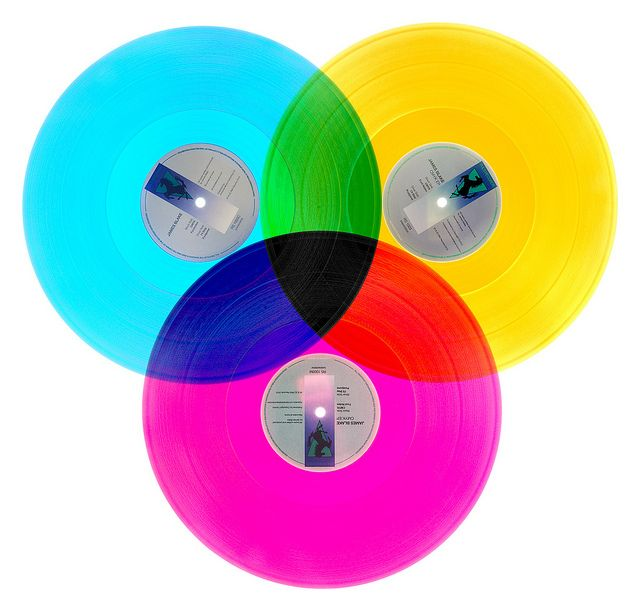 The CMYK EP by James Blake, was released on yellow, magenta and cyan colored vinyl which form a CMYK color model when overlapped.