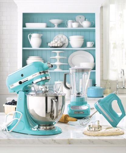 Hello, beautiful. Just need the stand mixer to complete my collection. #marthastewart #turquoise #kitchenaid