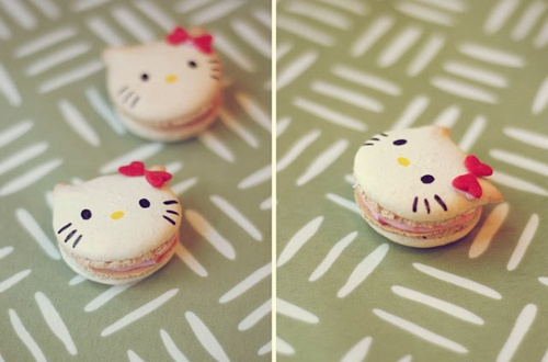 Lilly would love these!!: Heart Baking, Sweet, Recipe, Food, Hellokitty, Kitty Macaroons, Hello Kitty, Dessert