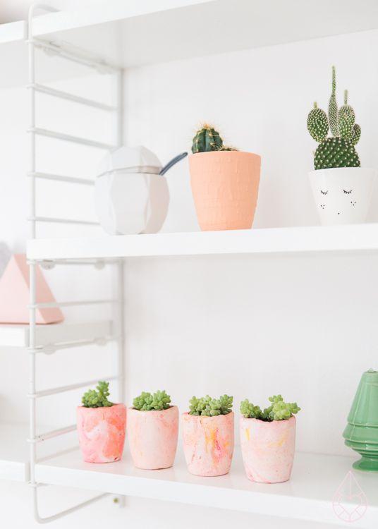 DIY plaster planters, by zilverblauw.nl