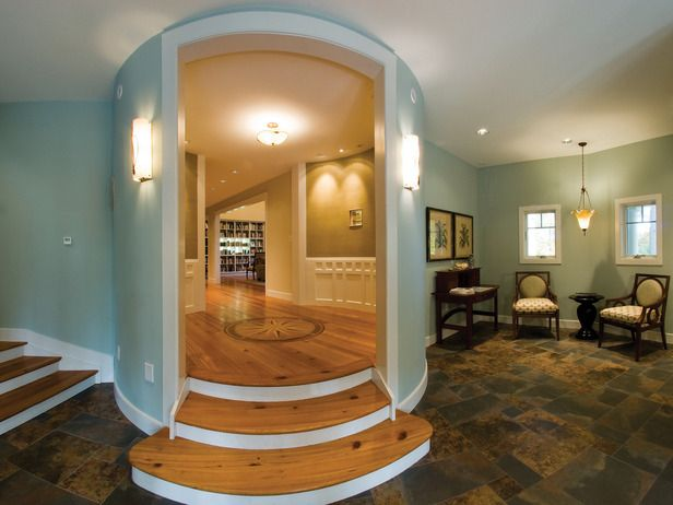Dramatic Entryway: Home Rooms, Circle Rooms, Dream House, Transitional Entryway, Entryway Awesome, Guest Rooms, Entrance, Awesome Entryway