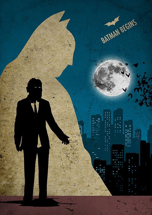 Batman Begins Minimalist Movie Poster by moonposter on Etsy