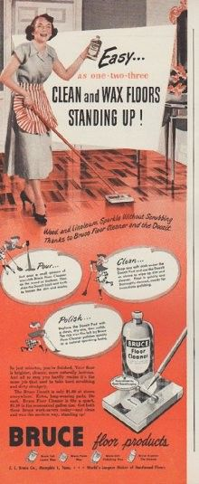 """1949 BRUCE FLOOR PRODUCTS vintage print advertisement """"Easy ... as one-two-three"""" ~ Clean and Wax Floors Standing Up! Bruce Floor Cleaner. ~"""