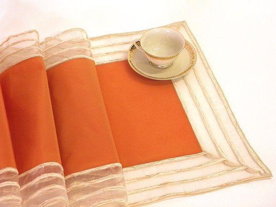 table runner modern elegant peach orange by