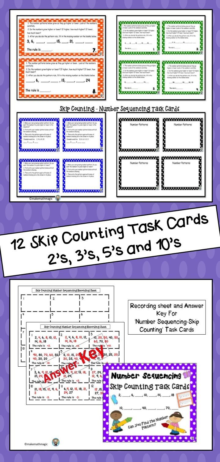 hight resolution of Skip counting task cards that include ascending \u0026 descending number patterns  that skip by 2'…   Addition math centers