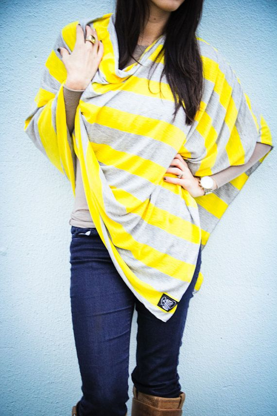 Yellow and Gray Nursing Cover for New Moms by BusySpinningThread, $38.00
