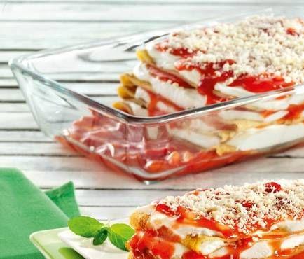 Erdbeer-Lasagne mit weißer Schokolade