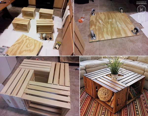 Coffee table with boxes of fruit   1 Decor