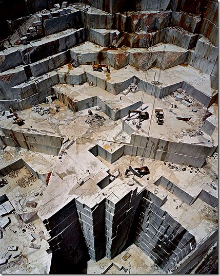 Have you ever seen a marble quarry? This is what it does to the earth. It is so vast, the trucks look like ants. {Carrara, Italy)