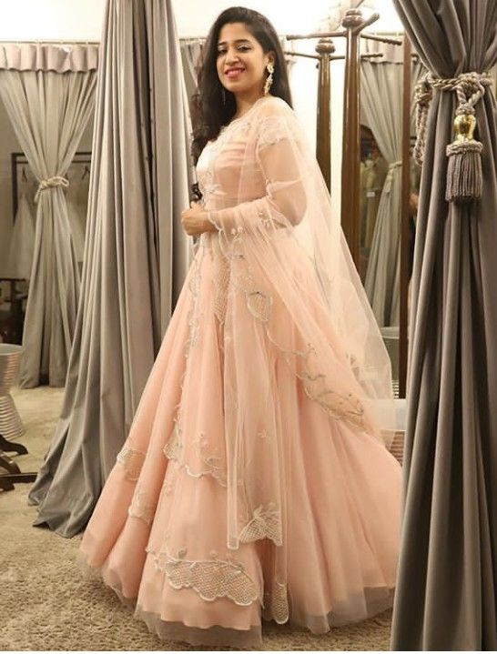 f2f85d4dccca Beautiful organza weave Silk Gown in Lehenga-Choli style with ...