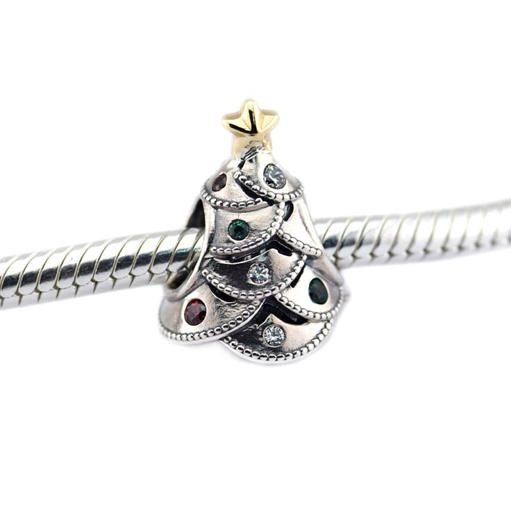 Festive Tree Multi-Colored CZ Beads Christmas Tree Charms Sterling-Silver-Jewelry Fits Original Bracelets & Necklaces Wholesale