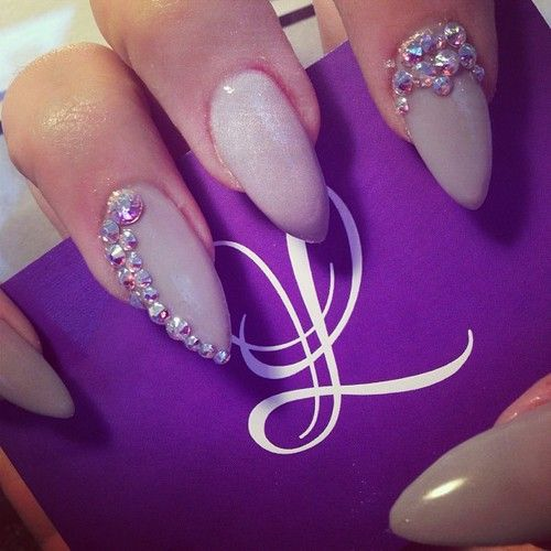 Purple Nail Designs With Rhinestones Images View