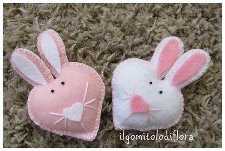 валентинки из фетра своими руками, простая выкройка, мастер-класс, зайцы, зайки валентинки