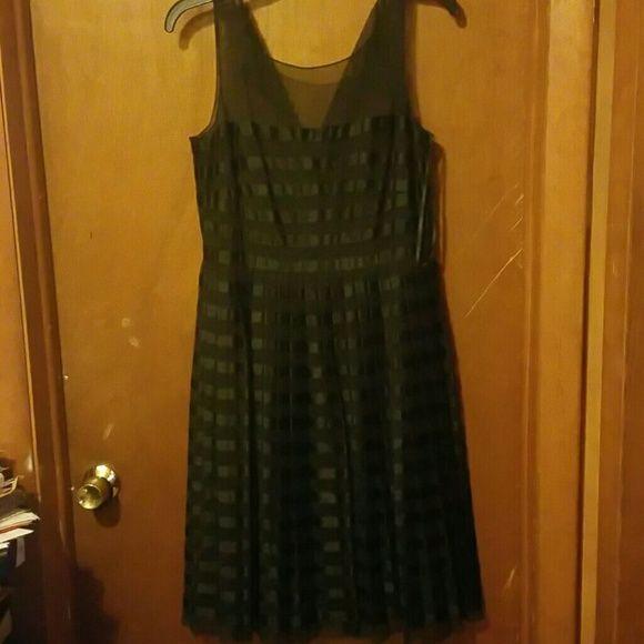 Black spring dress Black linen with mesh material never worn... Non smoker no pets Calvin Klein Dresses