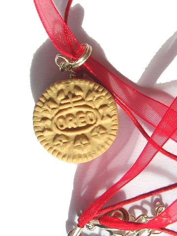 valentine's day oreo polymer clay necklace