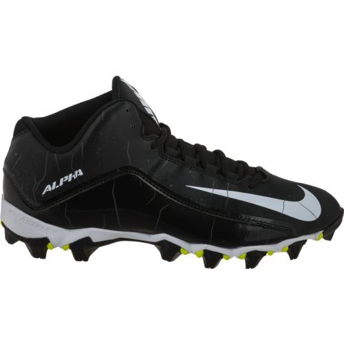 Nike Men's Alpha Strike 2 3/4 Football Cleats (Black/White/Anthracite, Size 10.5) - Football Shoes at Academy Sports