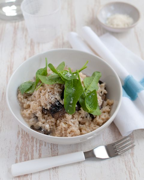 Shrimp Risotto With Baby Spinach And Basil Recipe — Dishmaps