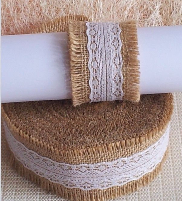 Natural Jute Hessian Burlap Ribbon with Lace Rustic Wedding Decor Floristry Burlap Ribbon Crafts Decor  Weddings Jute lace Roll/
