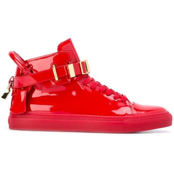 Red patent leather buckled hi-top sneakers from Buscemi. Size: 8. Gender: Male. Material: Leather/Patent Leather/rubber.