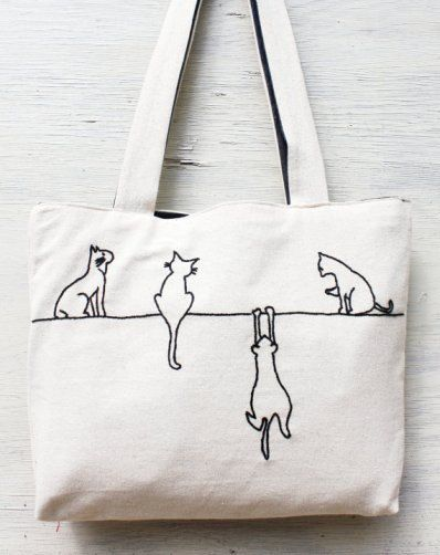 Alley cats tote / shoulder bag / minimalist line drawing / embroidery modern / reusable bags handmade