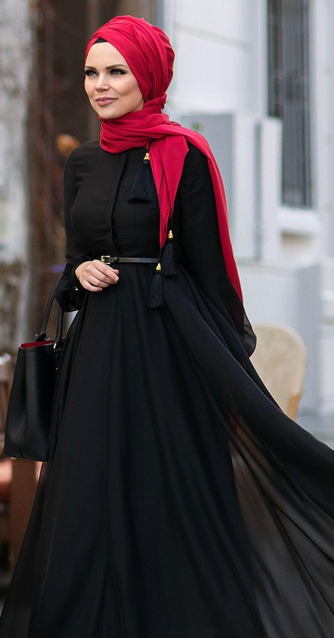 Muslima Wear-2016 Black french Chiffon Dress