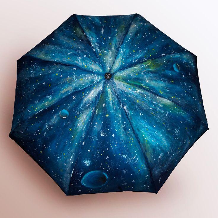 Зонт Космос купить в Санкт-Петербурге #зонт #зонтик #umbrella #parasol #design #спб #россия #роспись #хендмейд #handmade #рисунок #drawing #draw #style #styling #складной #дизайнерский #заказ #крутой #черный #дождь #прикольный #подарок