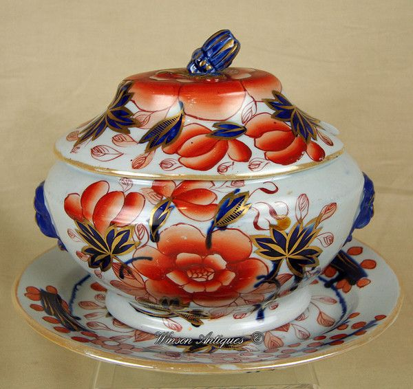 OnlineGalleries.com - Mason's Ironstone China sauce tureen & stand c.1813-20 england