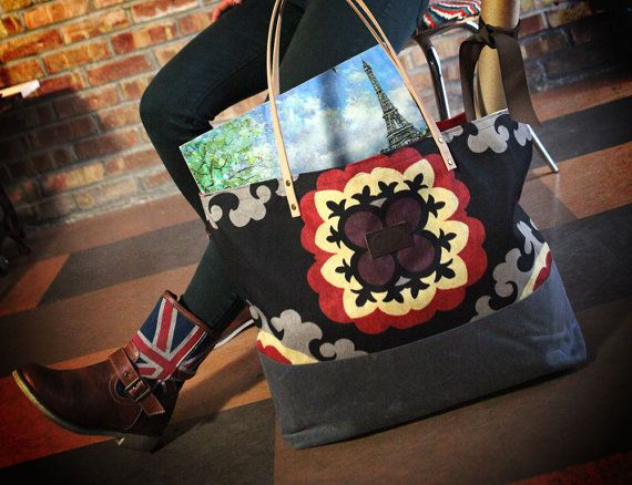 Tela+e+Tapestry+Tote+Bag+-+nel+mercato+azionario+borsa+di+tela+cerata