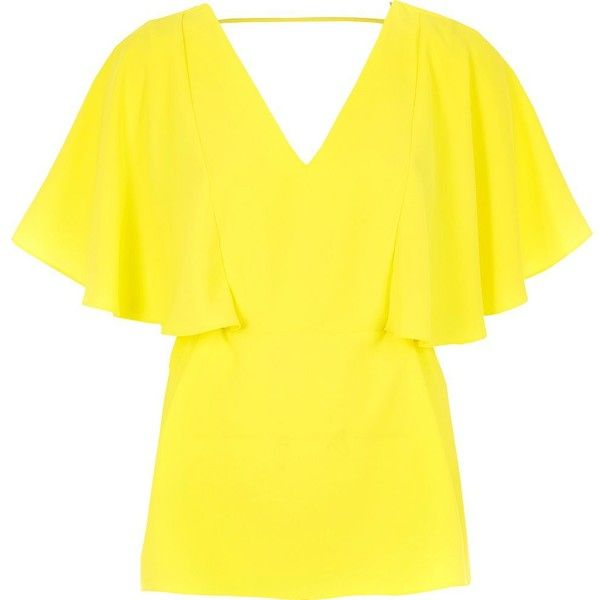 River Island Lime cape back V-neck t-shirt ($46) ❤ liked on Polyvore featuring tops, t-shirts, green, deep v neck tee, deep v neck t shirts, v neck tee, green top and lime green t shirt