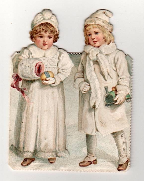Victorian 1880s Folded Die Cut New Year Card. 2 Snow Girls with toys | eBay