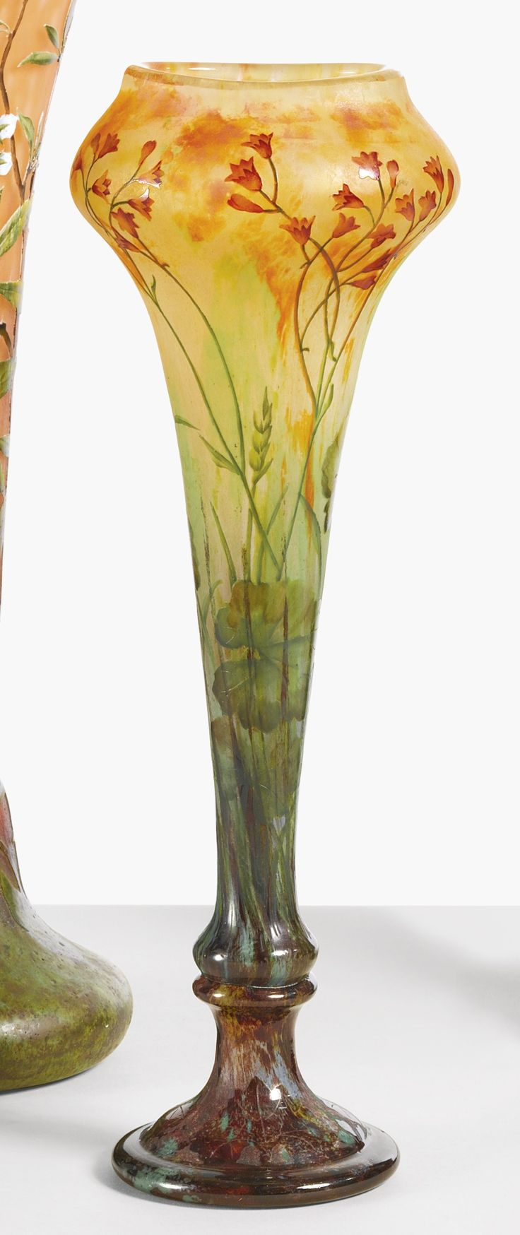 Art Nouveau Daum 'Wildflower Vase' ~ internally decorated, etched and enameled glass