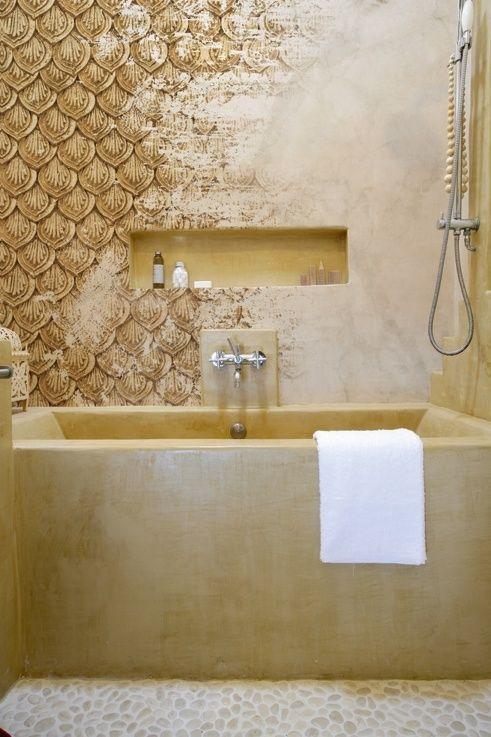 25 beste idee n over badkamer behang op pinterest gastenbadkamer kleine badkamer - Image deco badkamer ...