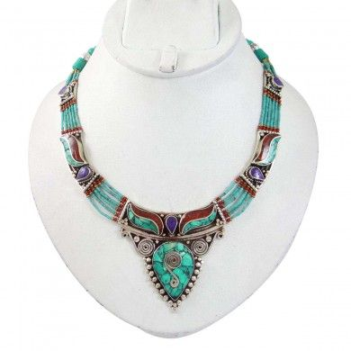 Silver Tone Metal Turquoise Stone Necklace Nepal Fashion Women Jewellry Gift